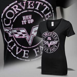 Corvette C6 Womens Crossed Flags Postage Seal T-Shirt 637654