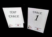 Personalised Wedding Table Numbers / Names - Handmade - Choice of Heart Colours