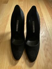 Manolo Blahnik New 37.5 Black Suede Heels