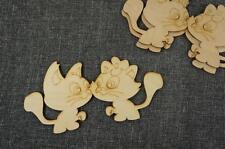 10 Stk. Katze & Kitty Haustier Dekoration Holz Basteln Bemalen Geschenk  /WX70/