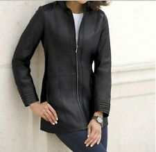 Women's Winter Black Leather Jacket Coat Fall  plus tag size 2X& fit XL 1X $310