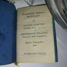 Vintage DARTMOUTH College ( 1914 ) Annual Banquet ( 1914 SENIOR BALL - PROGRAM