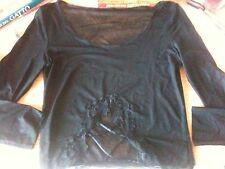 Maglietta nera trasparente con ricamo - Black t-shirt with embroidery