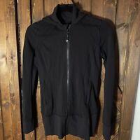 Lululemon Black Zip Up Running Jacket Coat with Hood Pockets Ribbed Size XS 2 4