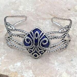 Barse Tuile Cuff Bracelet- Lapis & Silver Overlay- NWT
