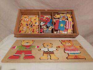 True Vintage Wooden Bears Puzzle Dressing Imagination Game