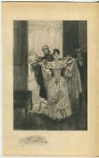 ANTIQUE QUADRILLE DANCE PRETTY VICTORIAN GIRL MAN SIDEBURNS COINS ETCHING PRINT