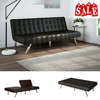 Tufted Modern Futon Sofa Bed Convertible Faux Leather Full Size for Small Space