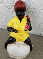 "Vintage Black Boy w Watermelon Sitting On Pot CAST IRON BANK  5 1/2"" EXC+"