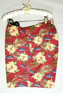 Tommy bahama Relax Swimwear Sz.L Mens 100%nylon Red Tropical Floral Fish Design
