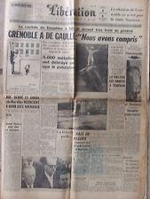 Libération (8/9 oct 1960) De Gaulle à Grenoble - Bourguiba - Mort Joseph Welch