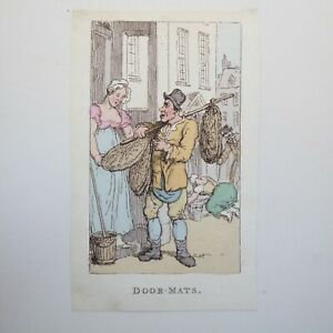 THOMAS ROWLANDSON, DOOR MATS, 1820, HAND COLOURED ETCHING, THE LOWER ORDERS