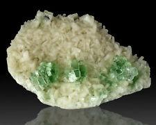 "5"" Gemmy GREEN APOPHYLLITE Disco Ball Crystals on White Stilbite India for sale"