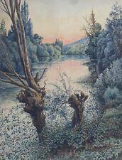 Félix OUDART (XIX-XX) Aquarelle sur papier marouflée paysage à l'étang