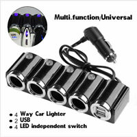 Cigarette 4 Way Car Lighter Socket Splitter Charger Power Adapter USB DC 12V-24V