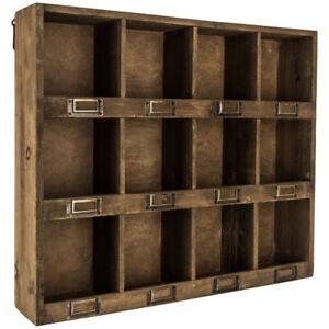 Wooden Wall Shelf Storage Organizer Rustic Antique Brown Finish w/ 12 Slots New