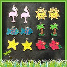 12 Enamel Charms Summer Flamingo Sun Palm Tree Fish Flower Jewelry Earrings K2