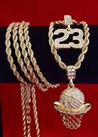 Hip Hop Iced CZ 14K Gold GP #23 Jordan Basketball Pendant Rope Chain Necklace