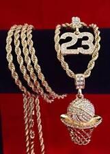 Hip Hop Iced CZ 14K Gold GP #23 Jordan Basketball Pendant Rope Chain Necklace
