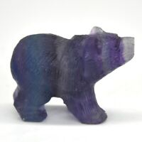 "2"" Fluorite Bear Fluorite Stone Carving Natural Gemstone Animals Statue Gift G16"