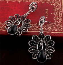 Charm Beautiful Retro Silver Peacock Black Rhinestone Water Drop Dangle Earrings
