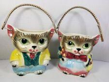 New listing Vintage Lady & Gentleman Dressed Gray Tabby Cats w.Rattan Handles, Japan