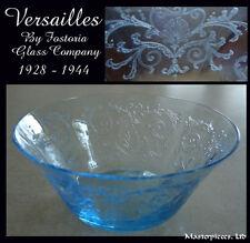 FOSTORIA VERSAILLES BLUE FINGER BOWL ETCHED DEPRESSION GLASS