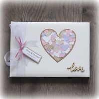 Beautiful Luxury Personalised Wedding/ Anniversary Guest Book/ Handmade + Box