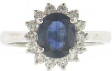 Lady's (14K) White Gold Sapphire and Diamond Ring - Free Shipping ! Value $2500
