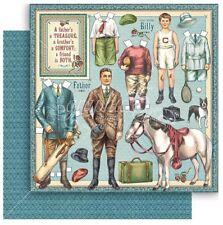 """Graphic 45 Penny's Paper Doll Family FATHERS & SONS - 12x12"""" Scrapbooking Paper"""