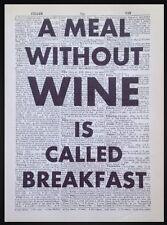 Vin Citation Vintage Dictionary Page Image Art Mural Imprimé Alcool Drôle