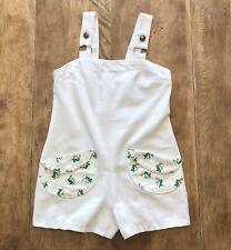 VTG Handmade One of a Kind Off-White One-Piece Shorts Romper w/FROG Pockets