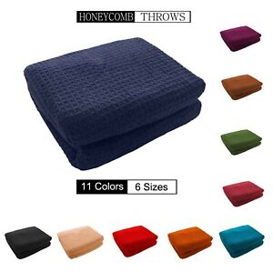 Honeycomb (Waffle)  100% Cotton Sofa Throws / Bed Throws in 11 Colors & 6 Sizes