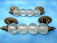 "2 Crackled Glass Metal Handle Drawer Handle Pull Large 6"" Dresser Hardware"