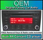 AUDI A4 CD MP3 Player, CONCIERTO radio de coche Unidad Principal con la