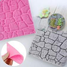 NEW Cobble Stone Wall Line Grain Silicone Impression Texture Mat Fondant Mould Z