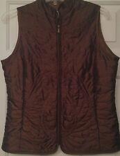 0318B2 COLDWATER CREEK Brown Paisley & Flowers Zipper Vest PXS Petite 2 Pockets