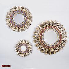 Sunburst Red Wall Mirrors set (3 Pieces) - Peruvian Round Mirror for wall decor