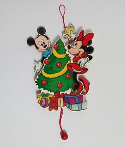 """Vintage Disney Mickey & Minnie Mouse with Christmas Tree Pull String Ornament 7"""""""