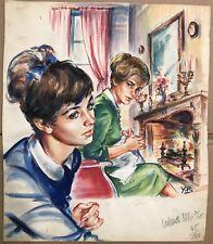 Peinture Gouache Dessin Original Yvette Briclot-Baudry Jeune fille Pensive YBB6