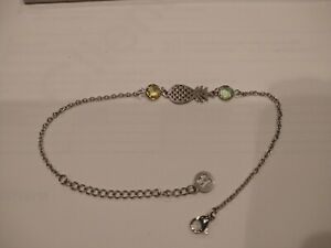 Beachy Ocean Sea Life Jewelry Anklet Green/Yellow Stones Pineapple NWT!