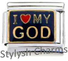 GOD I LOVE MY GOD RELIGION RELIGIOUS Enamel Italian Charm 9mm - 1 x RE028 Link
