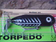 Heddon Baby TORPEDO 3/8oz Topwater X0361XBW in Black Shore Minnow for Bass