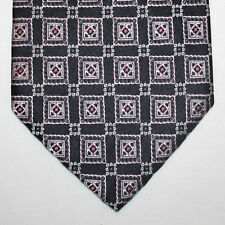 NEW Pierre Cardin Silk Neck Tie Black with Gray Silver and Pink Pattern 396