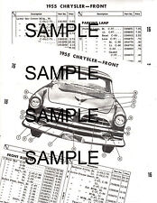 1955 CHRYSLER C67 C68 C69 55 EXTERIOR BODY PARTS LIST DIAGRAM SHEETS 5155MPR 5P