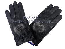 1 paire de Gants noir en cuir pour FEMME fille taille L hiver pompon gloves NEUF