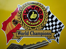 BULTACO Flags & Scroll Classic Motorcycle or Helmet STICKER Bike Cemoto Champion
