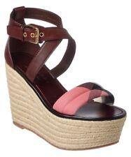5eef12e33fa 495 Burberry London Arkinson Sandal 38 7.5 5 Shoe Plaid Wedge Espadrille