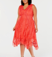 Taylor Plus Size Lace Handkerchief-Hem Dress MSRP $124 Size 18W # 9NA 712 NEW