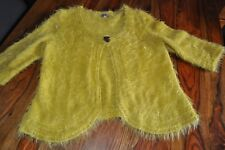 Cute Per Una Made in Italy mustard yellow eyelash fluffy knit cardigan excellent